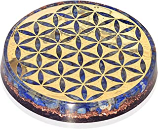 Orgonite Crystal Water Charging Plate with Lapis Lazuli Healing Crystals and Flower of Life –Chakra Healing Orgone Water Plate for Spiritual Protection and Cleansing (90mm)