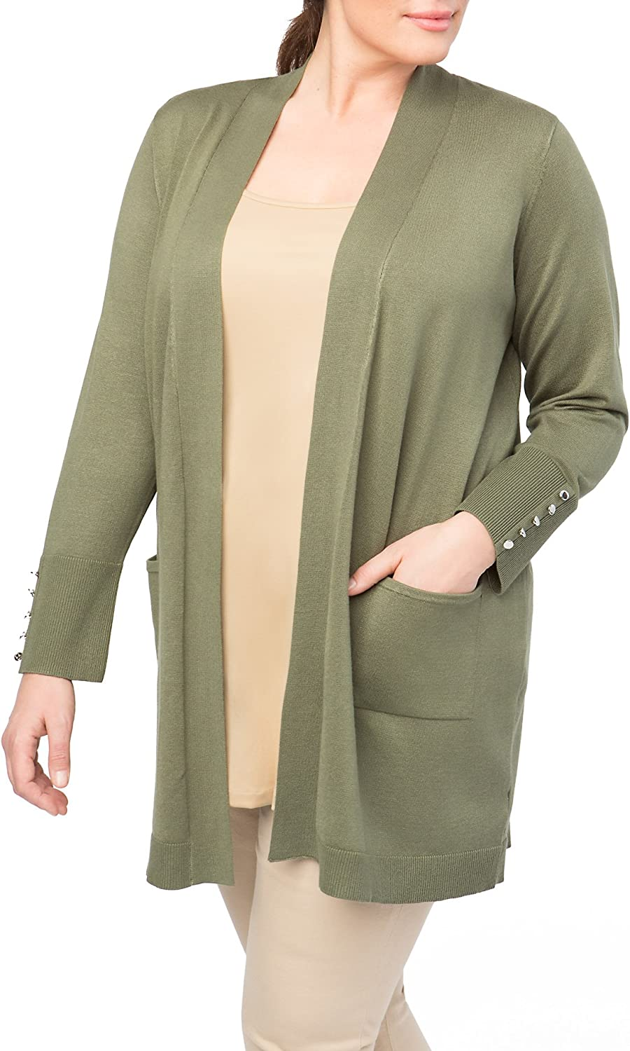 89th + Madison Women's Ultra Comfortable Open Front Cardigan with Long Sleeves
