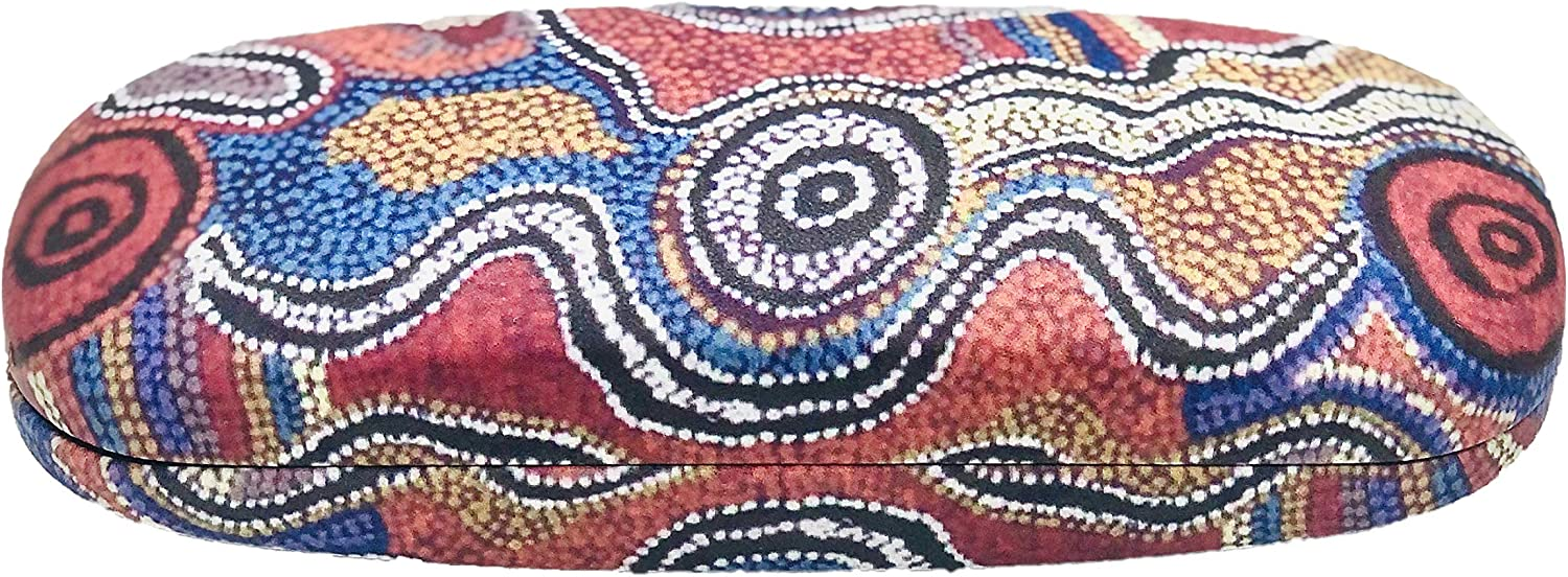 Generic Hard Eyeglasses Unisex Case by Otto Sims - Indigenous Australian Aboriginal Art Design - Great Souvenirs and Gifts, Reddish Brown, Small