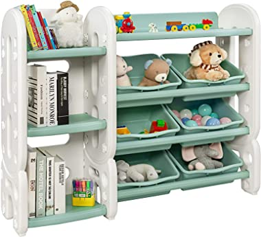 Costzon 2 in 1 Kids Toy Storage Organizer with Bookshelf and Toy Collection Shelves, 4 Layer Removable Kids Toy Shelf w/Multi