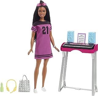 """Barbie GYG40 - """"Bühne Frei für große Träume"""" Brooklyn Barbie Puppe (ca. 30 cm groß, mit braunen Zöpfen) und Musiksstudio-S..."""