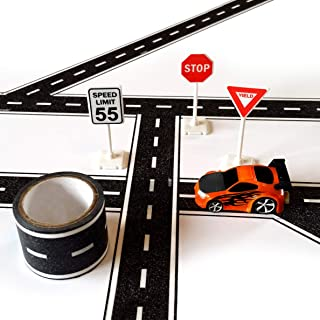 PlayTape TinyTown Cars & Roads: Includes Tuner Car, Tape Road, & Toy Road Signs & Accessories. Build Your Own Tiny Town! Easy to Use, Safe for Home, Quick CleanUp; PlayTape Road Tape; Play Cars