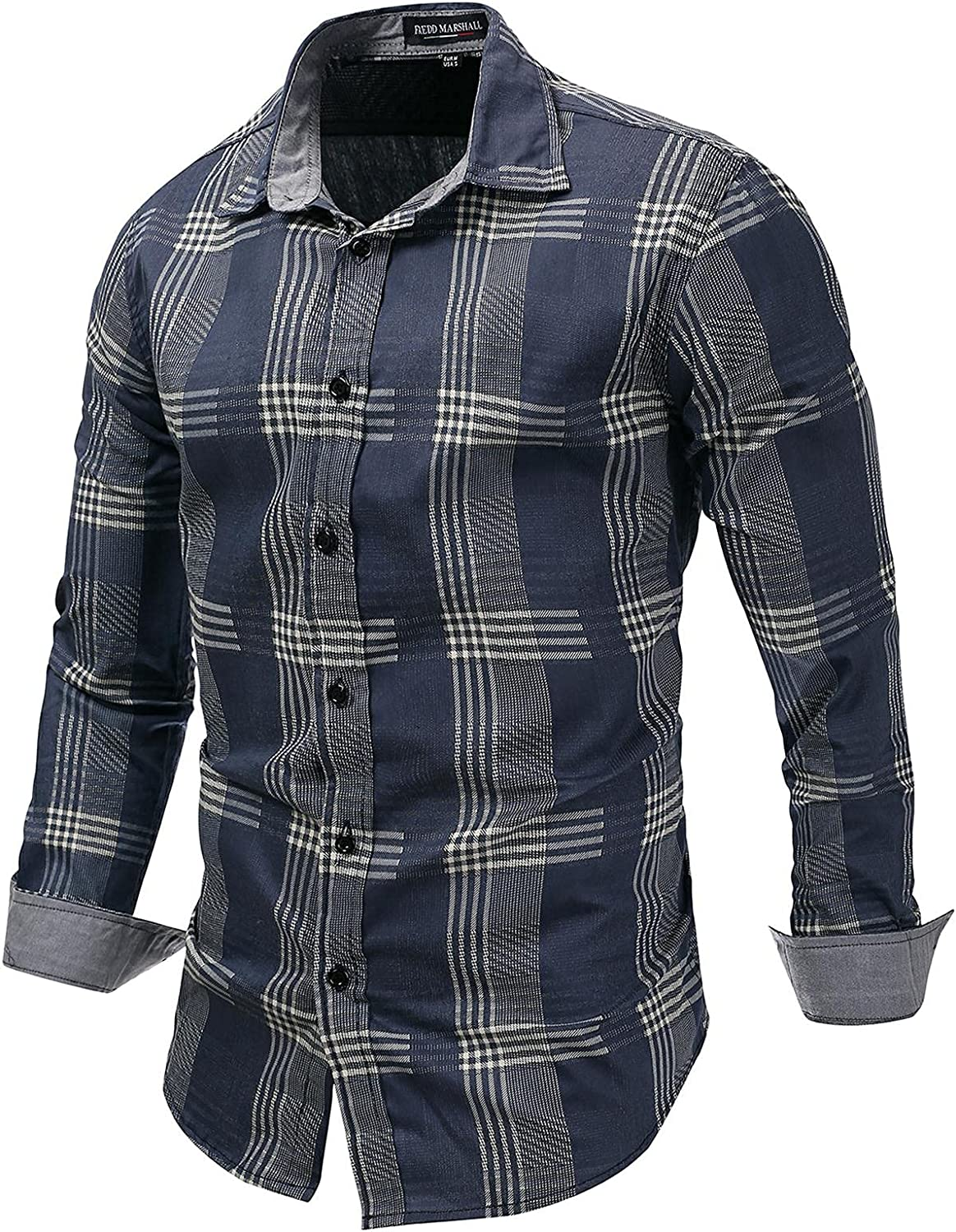 Men's Cotton Long Sleeve Dress Shirts Fashion Stripe Button Down Fitted Shirts Casual Turn Down Collar Blouse