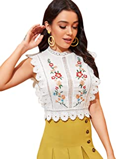 Floerns Women's Mock Neck Guipure Lace Trim Embroidery Blouse Tops