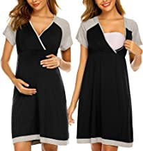 Ekouaer 3 in 1 Delivery/Labor/Nursing Nightgown Women's Maternity Hospital Gown/Sleepwear for Breastfeeding Sleep Dress