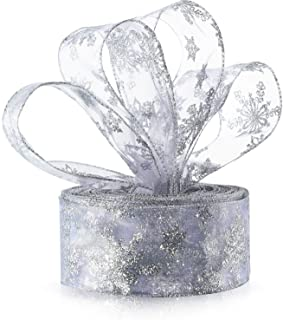 6.3 cm in Width Organza Ribbon Snowflake Wired Sheer Glitter Ribbon with Spool for Gift Wrapping, Christmas Party Decorati...