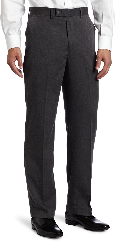 Louis Raphael Men's Poly Rayon Gabardine Flat Front Straight Fit Pant