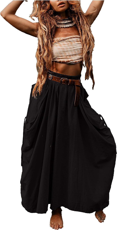 Thaluta Women's Maxi Boho Skirt with Pockets Bohemian Organic Cotton Hippie Gypsy