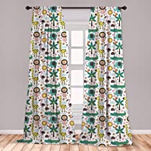 Lunarable Tropical Window Curtains, Jungle Animals Pattern with Giraffe Toucan Lion and Elephant in Scandinavian Style, Lightweight Decorative Panels Set of 2 with Rod Pocket, 56