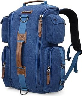 WITZMAN Retro Segeltuch Canvas Rucksack Herren Damen Reiserucksack Convertible Universität Freizeit Daypack 6661, Leinwand blau