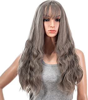 SWACC 26-Inch Women Long Wave Curly Synthetic Hair Full Wig with Wig Cap (Grey Mixed)