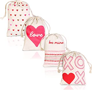 Juvale 12-Pack Heart Love Theme Drawstring Gift Bags, 5.5 x 4 Inch Valentine's Day Cotton Favor Pouches for Goodies, Sachets, and Jewelry, 4 Designs