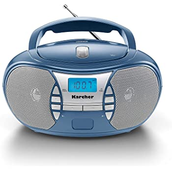 Karcher RR 5025-C tragbares CD Radio (CD-Player, Boomboxen, UKW Radio, Batterie/Netzbetrieb, AUX-In) blau
