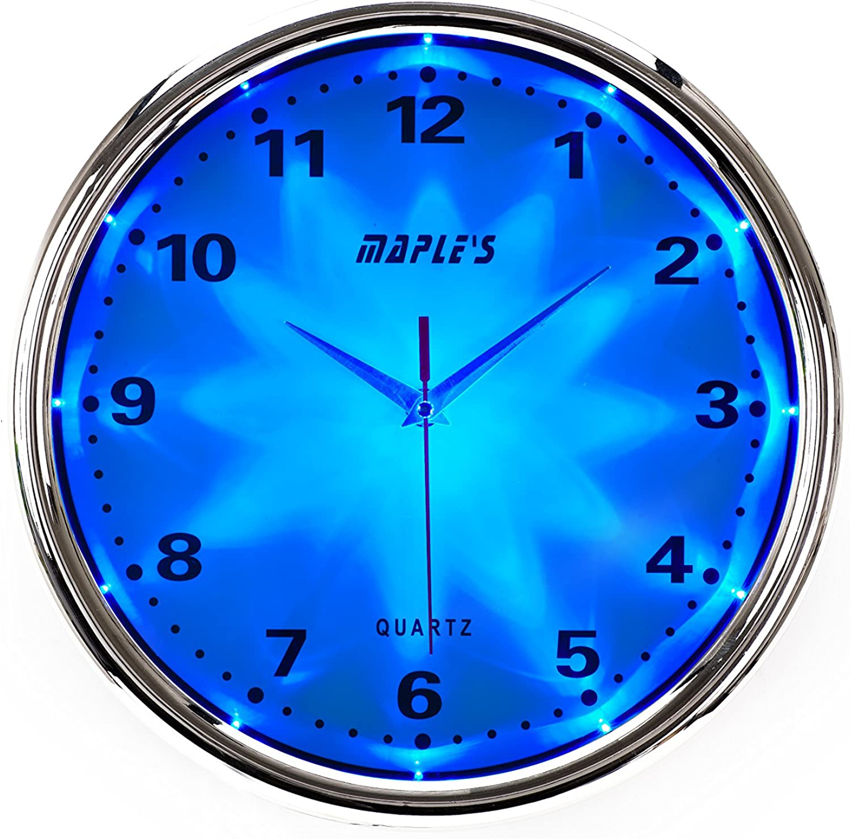 Maple's Clock bluee LED Plastic Wall Clock, 12-Inch