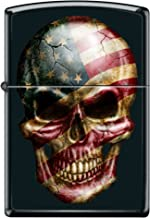 Zippo American Flag Skull Face Black Matte Custom Windproof Collectible Lighter. Made in USA Limited Edition & Rare