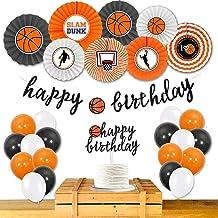 Homond Basketball Birthday Decorations Supplies Kit, Basketball Party Supplies, Basketball Theme Paper Fans Balloons, Happ...