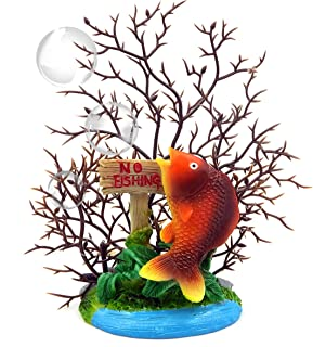 REALAQUA Artificial Fish and Coral Branch Aquarium Ornament Simulated Vivid Undersea Landscape Decoration for Small, Mediu...