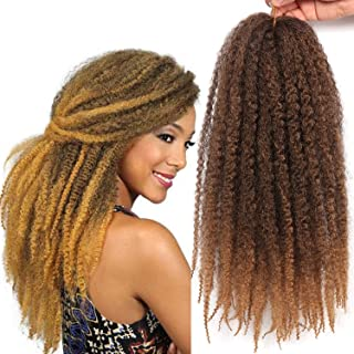 Marley Twist Braiding Hair 3 Packs 18 Inch Afro Kinky Curly Hair Extension Synthetic Crochet Braids (T27#)