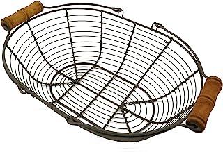 CVHOMEDECO. Ovale en métal Panier à œufs Fil Panier avec poignée en Bois Style Vintage de Campagne Panier de Rangement. Ru...