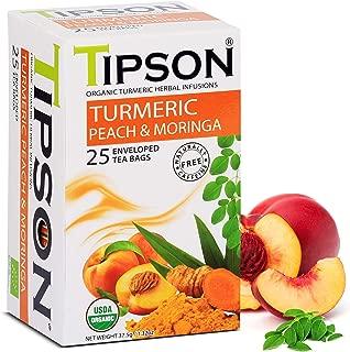 Tipson Organic Turmeric Caffeine Free Herbal Tea - Organic Moringa and Peach Flavor - 25 Foil Enveloped Double Chambered Bags - Keto/Paleo - Basilur