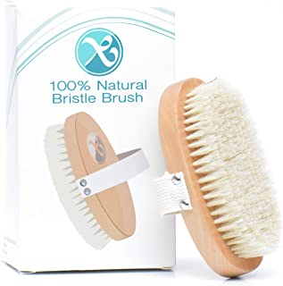 Dry Brushing Body Brush | 100% Natural Exfoliating Boar Bristle Brush For Sensitive Skin (Soft) | Remove Toxins and Cellulite, Stimulates Blood Circulation, Improves Lymphatic Function