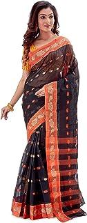 SareesofBengal Women's Cotton Handloom Tangail Tant Saree (TN01, Black, Orange and Multicolour)