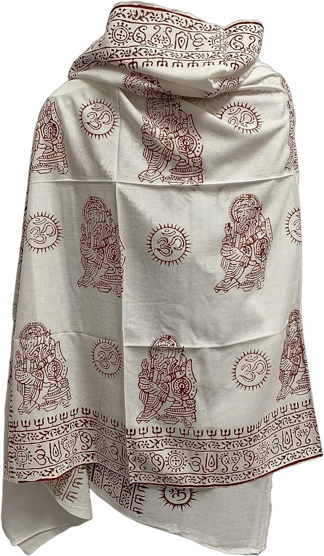 Om Ganesh Yoga Meditation Block Scarf White Max 61% OFF Print Super popular specialty store Shawl Prayer