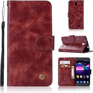 ZTE Prestige N9132 / Avid Plus Z828 / Maven 2 Z831 / Sonata 3 Z832 / Avid Trio Case, Asstar [Card Slots Holder] PU Leather Dual Wallet TPU Shockproof Full Body Protective Cover Case (Wine Red)