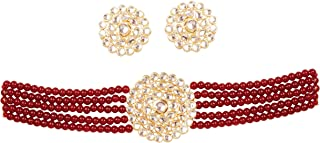 """NEW! Touchstone """"Contemporary Kundan Collection"""" Indian Bollywood Mughal Era Inspired Kundan Look Red Color Glass Beads St..."""