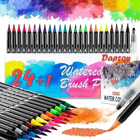 Dapzon Feutre Aquarelle, 24 Stylo Aquarelle mit Nylon, 8 Papier aquarelle, 1 Aqua Brush, Feutres Pinceaux pour Artistes et Débutants, Bullet Journal, Peinture, Coloriage, Dessin à l'encre