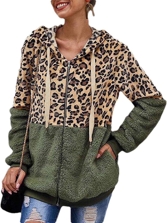 Womens Faux Fur Hooded Jacket Fleece Zip Up Color Block Striped Hoodies Coats