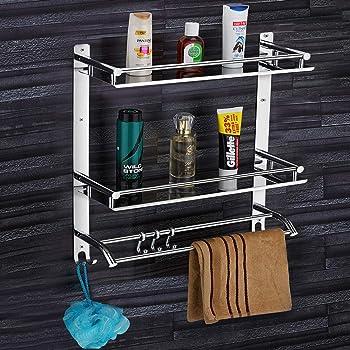 Plantex Elegant-Plus High Grade Stainless Steel Multipurpose 3-Tier Bathroom Shelf with Towel Holder/Towel Hooks/Bathroom Accessories Wall-Mount - (Chrome)