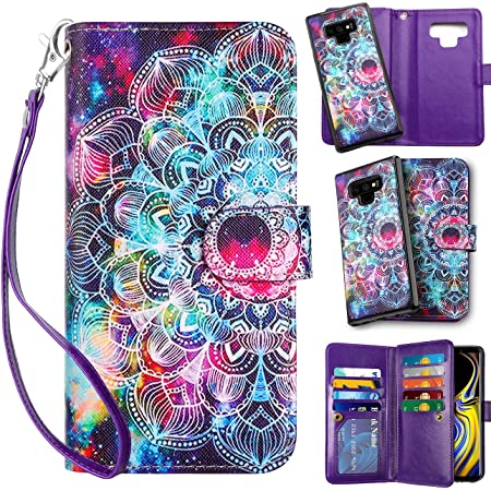 Vofolen Case for Galaxy Note 9 Wallet Leather PU Flip Cover Folio Detachable Magnetic Slim Shell Dual Layer Heavy Duty Protective Bumper Armor + Wristband for Galaxy Note 9 Mandala