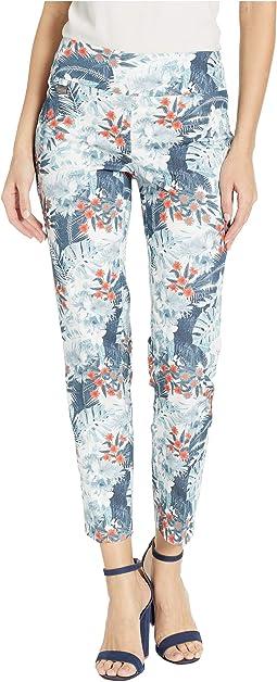 Chambray Palm Print Ankle Pants