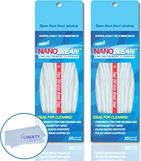 All-in-1 Hearing Aid Cleaning Kit (2 Pack) - Gentle and Effective Hearing Aid Cleaning Brush with Threader (40 Ready-to-Use Strands) w/Liberty Cleaning Cloth - Fine Instrument Cleaners by NanoClean
