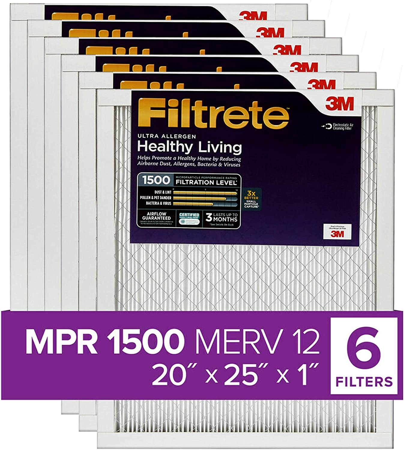 Filtrete 14x20x1 AC Furnace Air Filter MPR 1500 and Airthings Wave ...