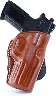 Premium Leather OWB Paddle Holster with Open Top Fits, Eaa Witness Pavona Compact Semi Auto Pistol 9mm Luger 3.6