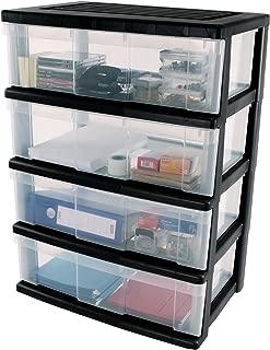 Iris Ohyama Europe WC-N604 Plastic 4 Storage Drawer Organiser, Black