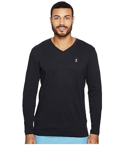 Psycho Bunny V-Neck Long Sleeve T-Shirt (Navy) Men