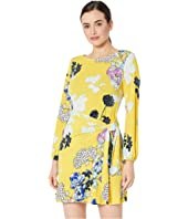 Long Sleeve Floral Printed Wrap Dress
