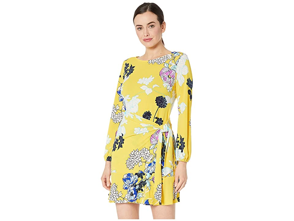 eci Long Sleeve Floral Printed Wrap Dress (Yellow/Multi) Women