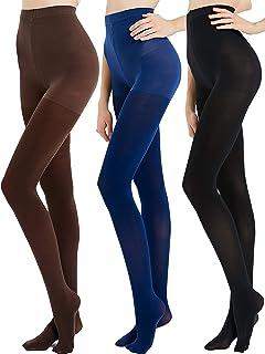 CozyWow Damen Strumpfhose, hohe Taille, blickdicht, verstärkt, mit Füßen, weich, Schwarz, Beige, Dunkelblau, Kaffee