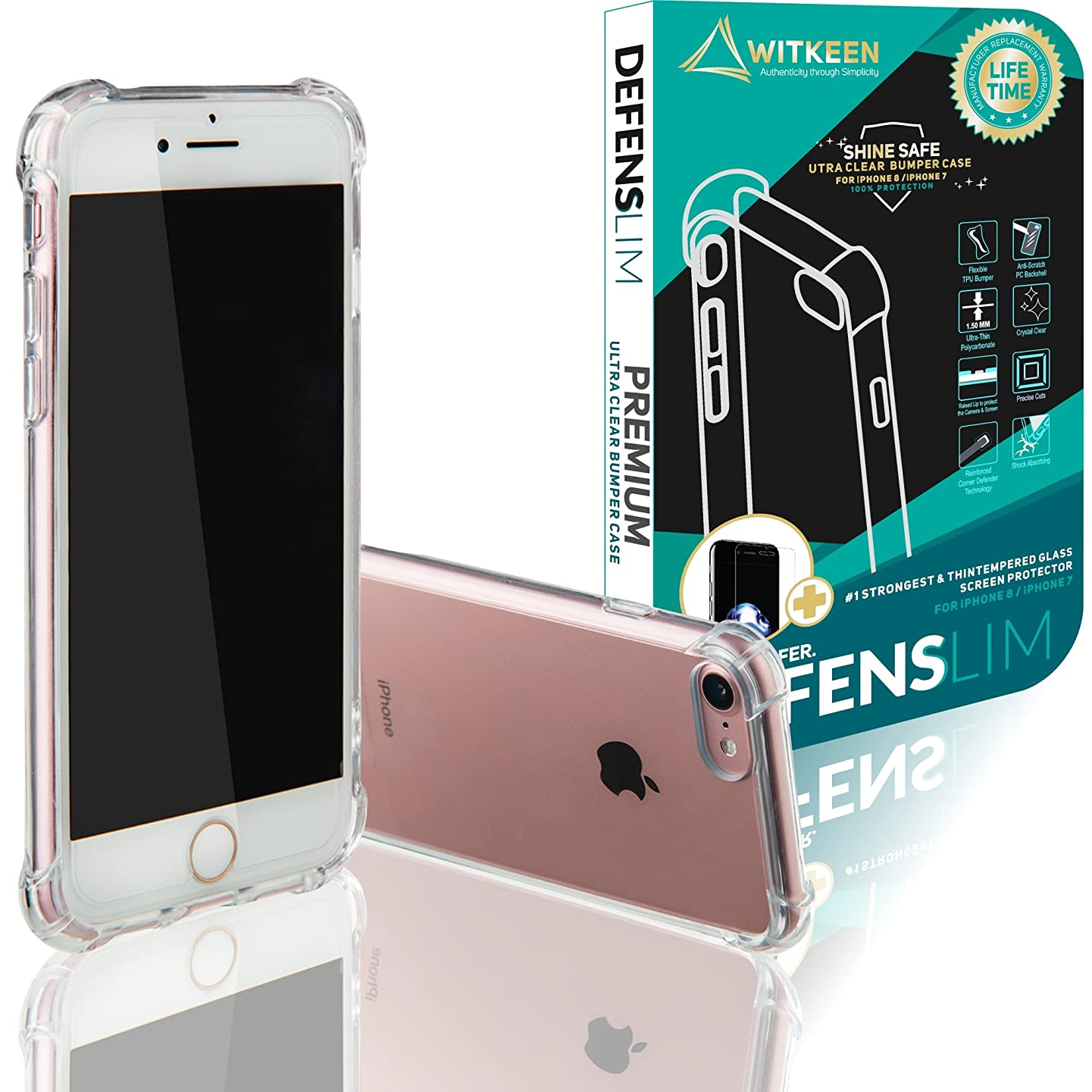 2018 Defenslim Ultra Clear Case iPhone 8 / iPhone 7, by Witkeen Shockproof Bumper Cases with Corner Defender Technology for Apple iPhone 8 / iPhone 7 Transparent Cover