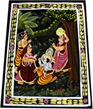 Amazing India Online Madhubani Art of Lord Krishna & Radha Miniature Handmade Painting on Fabric