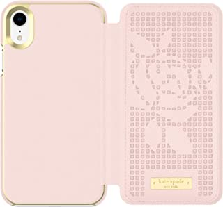 Kate Spade New York Phone Case | for Apple iPhone XR | Protective Phone Cases with Folio Design and Drop Protection - Perforated Rose Rose Quartz/Gold Logo Plate