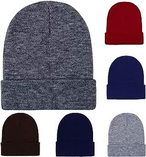 6 Pack Winter Beanie Cap Warm Knit Cuff Skull Beanie Caps for Men or Women
