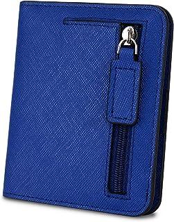 [ヤラックス]YALUXE レディース RFID ブロッキング 小さい コンパクト レザー ウォレット ミニ 財布 ID ウィンドウ クロス ダークブルー