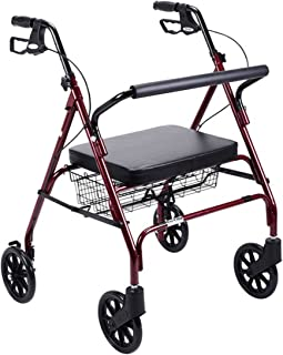 Red Frame Foldable Bariatric Heavy Duty Rollator Walker W/ Large Padded Seat. Supports Up To 500 Lbs. Rolling Walker For Big People Indoor Outdoor Use. Four Wheel Walker Built With Durable Steel Reinforced Frame. Get It Today For You Or A Loved One!