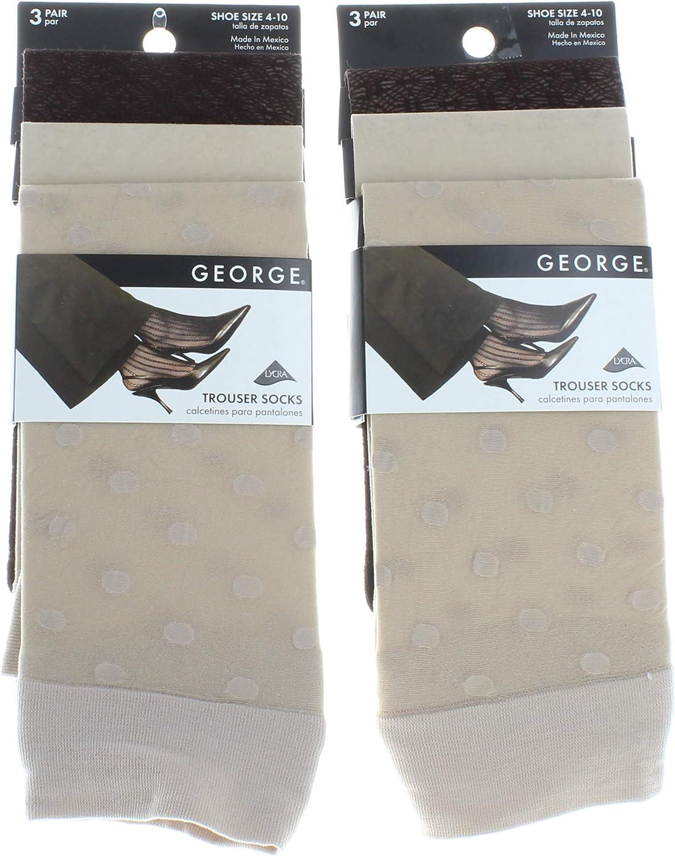 6 Pairs George Ladies Trouser Socks Khaki Tan Brown Casual Women's Shoe Sz 4-10