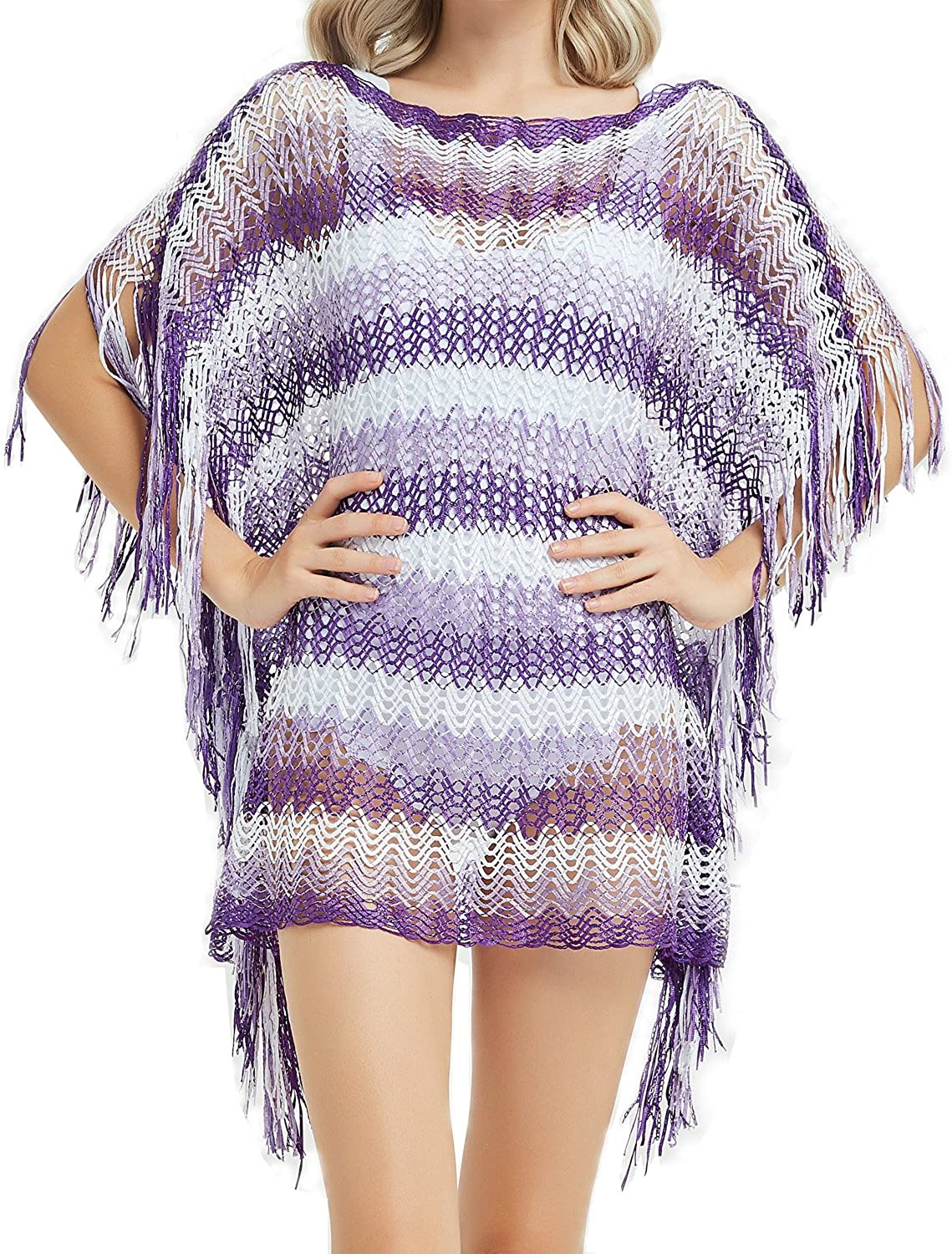 CHARMIX Beach Coverups for Women Fits 5'15'8, Bikini Swimsuit Cover up Bathing Suits for Women Mesh Polyester(Purple)